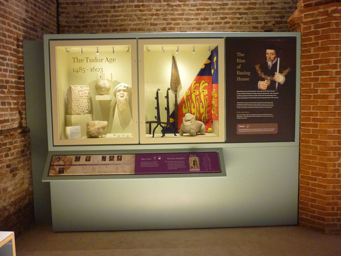 A display containing artefacts from the English Civil War