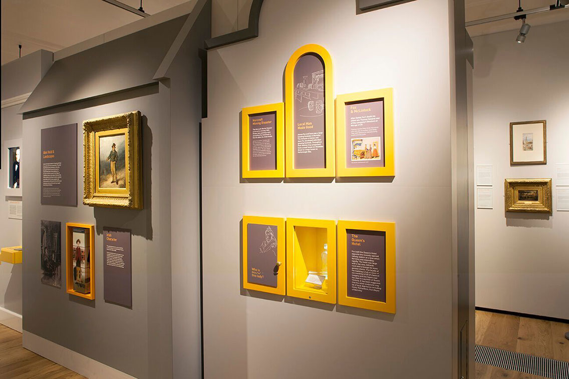 Paintings and exhibits supported by useful information boards