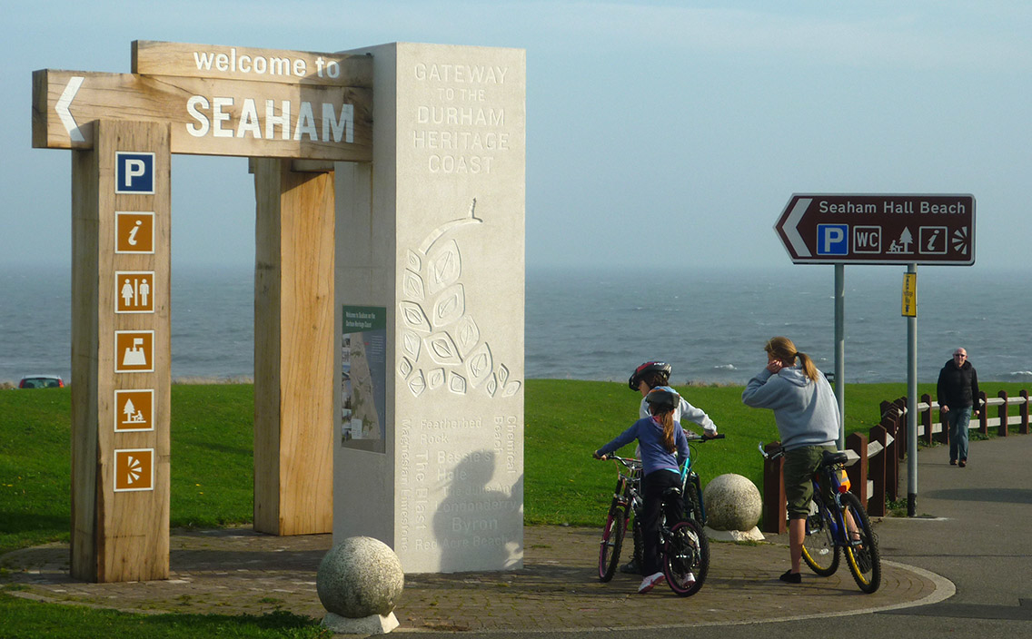 The 'Welcome to Seaham' structure and sign along Durham Heritage Coast