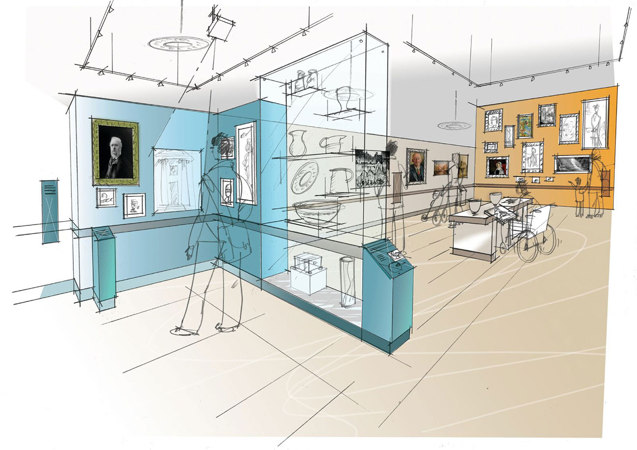 A sketched impression of the creative exhibition space at Cooper Art Gallery, Barnsley