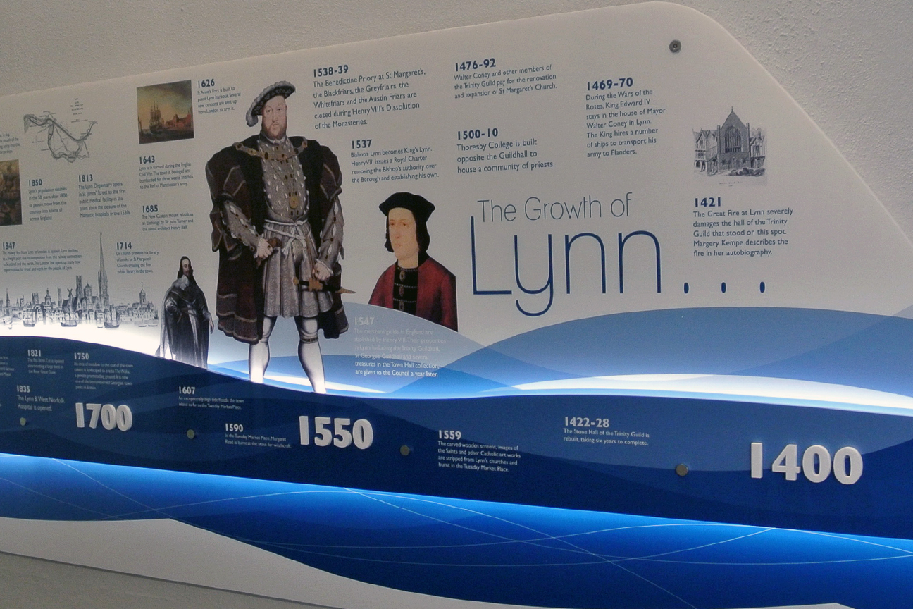 Visually designed timeline detailing key developments of Kings Lynn from the 1400s
