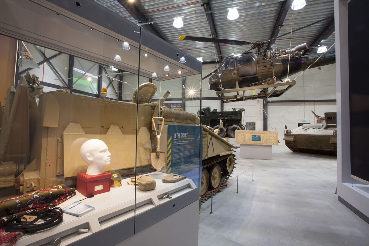 Historical artefacts and military vehicles on display at the REME Museum