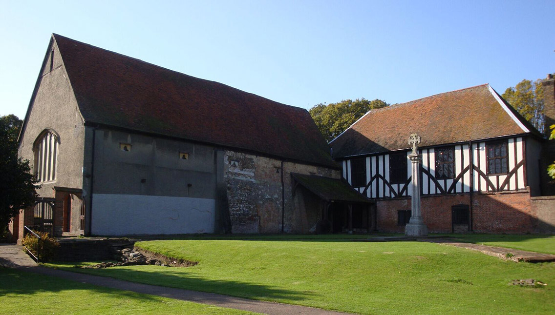 The exterior of Prittlewell Priory within its historic surroundings