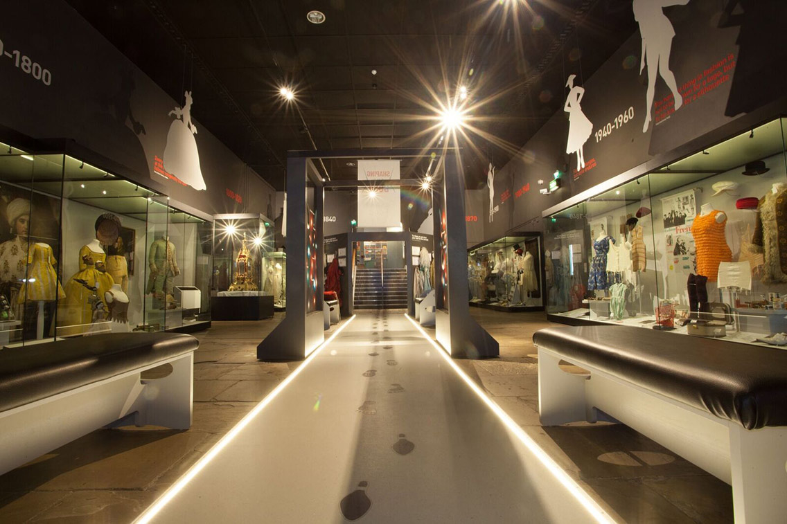 York Castle Museum's event space showcasing a fashion timeline